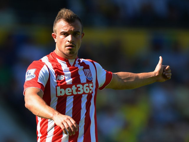 Xherdan Shaqiri of Stoke City in action during the Barclays Premier League match between Norwich City and Stoke City at Carrow Road on August 22, 2015