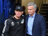 Tony Pulis, manager of West Bromwich Albion greets Jose Mourinho, manager of Chelsea prior to the Barclays Premier League match between West Bromwich Albion and Chelsea at The Hawthorns on August 23, 2015