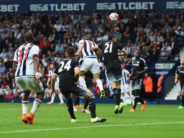 James Morrison of West Bromwich Albion scores his team's second goal with a header during the Barclays Premier League match between West Bromwich Albion and Chelsea at The Hawthorns on August 23, 2015
