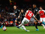 Aaron Ramsey scores a goal for Arsenal that is disallowed for offside on August 24, 2015
