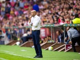 Head Abelardo Fernandez of Sporting Gijon reacts during the La Liga match between Sporting Gijon and Real Madrid at Estadio El Molinon on August 23, 201