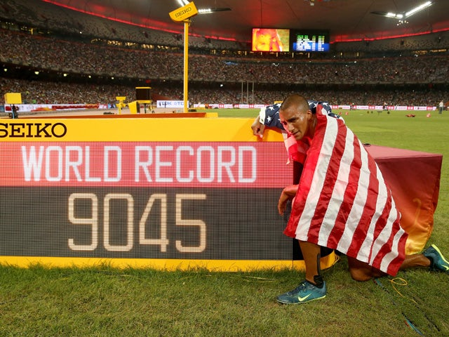 Ashton Eaton of the United States celebrates after finishing second in the Men's Decathlon 1500 metres heat 2 to win gold in the overall Men's Decathlon during day eight of the 15th IAAF World Athletics Championships Beijing 2015 at Beijing National Stadi