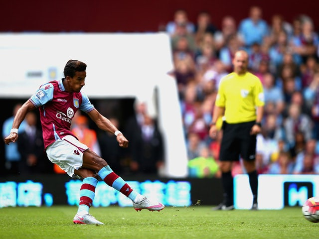 Scott Sinclair of Aston Villa scores his team's first goal from the penalty spot during the Barclays Premier League match between Aston Villa and Sunderland at Villa Park on August 29, 2015
