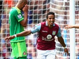 Scott Sinclair of Aston Villa celebrates scoring his team's second goal during the Barclays Premier League match between Aston Villa and Sunderland at Villa Park on August 29, 2015