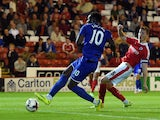 Romelu Lukaku of Everton scores his team's third goal during the Capital One Cup second round match between Barnsley and Everton at Oakwell Stadium on August 26, 2015 in Barnsley, England.