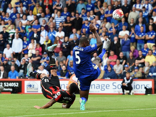 Callum Wilson of Bournemouth scores his team's first goal with a bicycle kick during the Barclays Premier League match between A.F.C. Bournemouth and Leicester City at Vitality Stadium on August 29, 2015