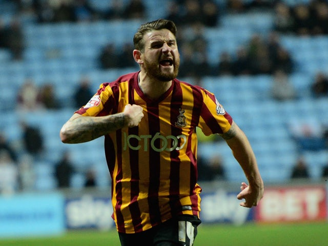 Mark Yeats of Bradford City celebrates his goal during the Sky Bet League One match between Coventry City and Bradford City at Ricoh Arena on March 10, 2015