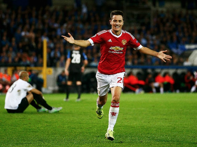 Ander Herrera of Manchester United celebrates scoring his team's fourth goal during the UEFA Champions League qualifying round play off 2nd leg match between Club Brugge and Manchester United held at Jan Breydel Stadium on August 26, 2015 in Brugge, Belg
