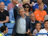 Chelsea's Portuguese manager Jose Mourinho gestures during the English Premier League football match between Chelsea and Crystal Palace at Stamford Bridge in London on August 29, 2015