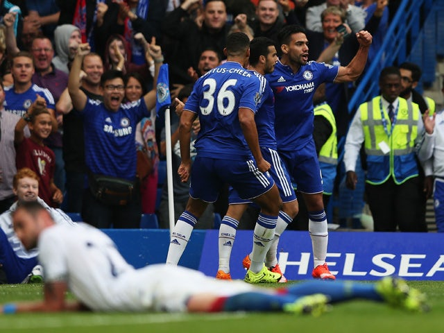 Radamel Falcao of Chelsea celebrates scoring chelsea's first goal during the Barclays Premier League match between Chelsea and Crystal Palace on August 29, 2015
