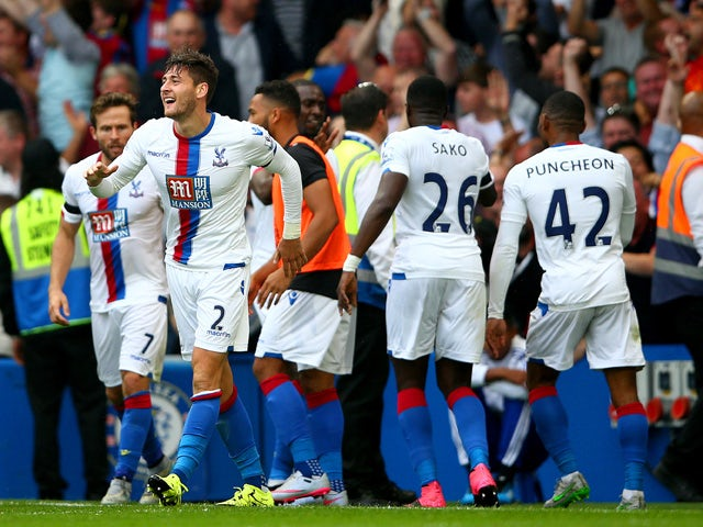 Joel Ward of Crystal Palace celebrates scoring his team's second goal during the Barclays Premier League match between Chelsea and Crystal Palace at Stamford Bridge on August 29, 2015