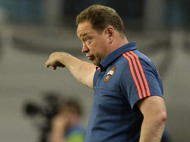 CSKA Moscow's coach Leonid Slutsky gestures during the UEFA Champions League play-offs, second leg football match between CSKA Moscow and Sporting CP, at the Khimki Arena outside Moscow on August 26, 2015.