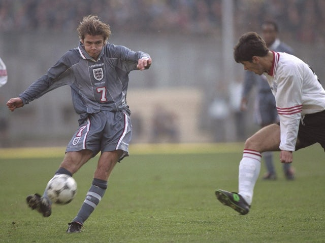 David Beckham of England in action during the world cup qualifier between Georgia and England in Tbilisi on November 9, 1996