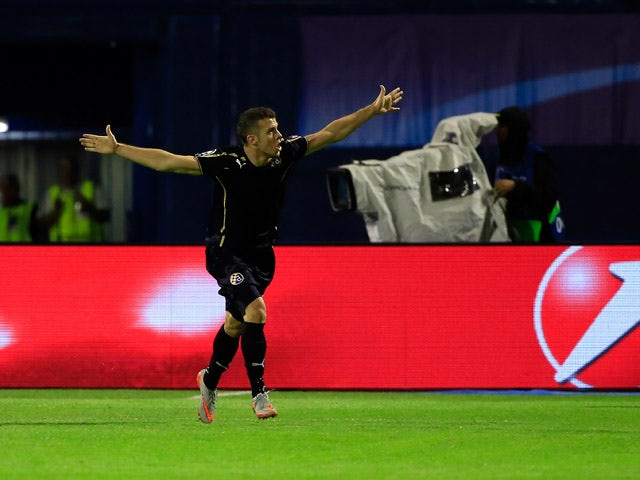 Armin Hodzic of Dinamo Zagreb celebrates scoring their second goal during the UEFA Champions League Qualifying Round Play Off Second Leg match between Dinamo Zagreb and FC Skenderbeu at Maksimir stadium in Zagreb, Croatia on Tuesday, August 25, 2015