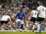 Everton's Belgian striker Romelu Lukaku in action during the English Premier League football match between Tottenham Hotspur and Everton at White Hart Lane in north London on August 29, 2015