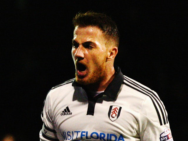 Ross McCormack of Fulham celebrates scoring from the penalty spot during the Capital One League Cup Second Round match between Fulham and Sheffield United at Craven Cottage on August 25, 2015