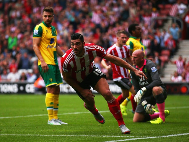Graziano Pelle of Southampton celebrates scoring the opening goal during the Barclays Premier League match between Southampton and Norwich City at St Mary's Stadium on August 30, 2015