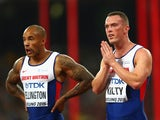 James Ellington of Great Britain and Richard Kilty of Great Britain react after failing to finish in the Men's 4x100 Metres Relay final during day eight of the 15th IAAF World Athletics Championships Beijing 2015 at Beijing National Stadium on August 29,