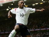 Jermain Defoe of England celebrates scoring his team's third goal during the Euro 2008 Qualifying match between England and Andorra at Old Trafford on September 2, 2006