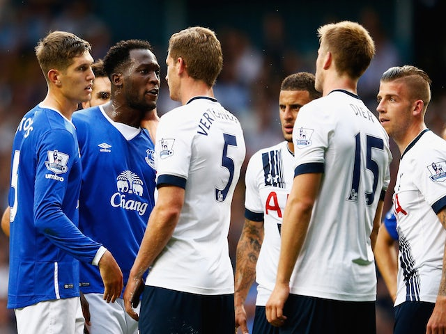 John Stones (1st L) and Romelu Lukaku (2nd L) of Everton face off with Jan Vertonghen (3rd L), Eric Dier (2nd R) and Toby Alderweireld (1st R) of Tottenham Hotspur during the Barclays Premier League match between Tottenham Hotspur and Everton at White Har