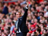Brendan Rodgers, manager of Liverpool gesstures during the Barclays Premier League match between Liverpool and West Ham United at Anfield on August 29, 2015