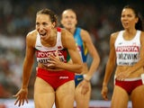 Marina Arzamasova of Belarus crosses the finish line to win gold in the Women's 800 metres final during day eight of the 15th IAAF World Athletics Championships Beijing 2015 at Beijing National Stadium on August 29, 2015