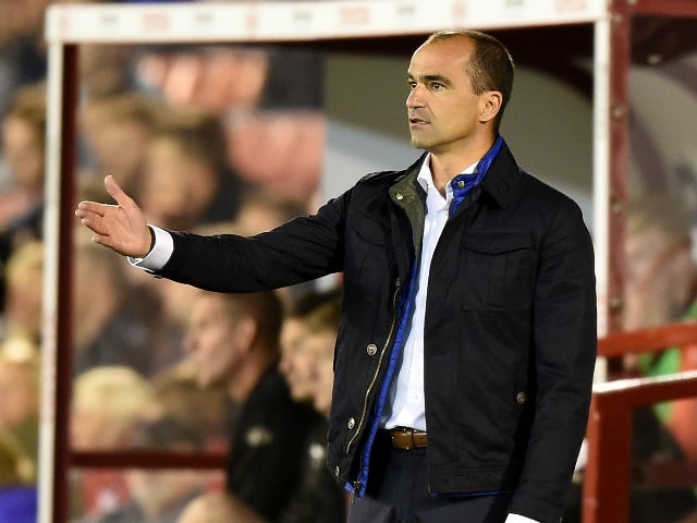 Roberto Martinez, manager of Everton gestures during the Capital One Cup second round match between Barnsley and Everton at Oakwell Stadium on August 26, 2015 in Barnsley, England