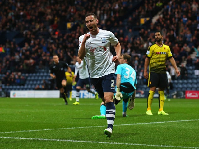 Marnick Vermijl of Preston North End celebrates scoring the opening goal during the Capital One Cup second round match between Preston North End and Watford at Deepdale on August 25, 2015