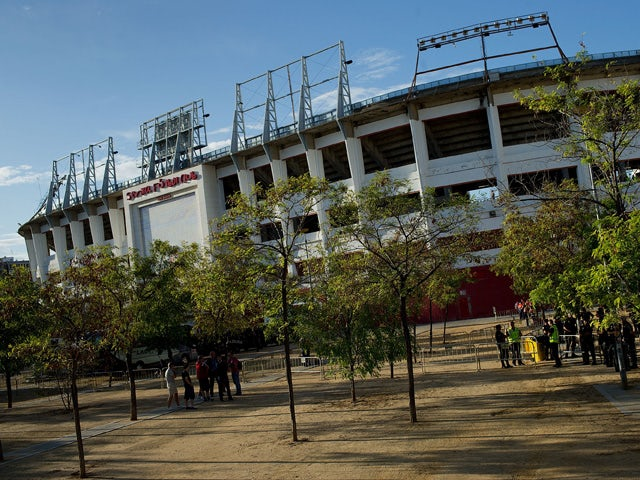 General view of amon Sanchez Pizjuan stadium outdoors the afternoon prior to start during the UEFA Europa League group G match between Sevilla FC and Feyenoord on September 18, 201