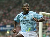 Shaun Wright-Phillips of Manchester City celebrates scoring his first goal during the Barclays Premier League match between Sunderland and Manchester City at the Stadium of Light on August 31, 2008