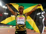 Shelly-Ann Fraser-Pryce of Jamaica celebrates after winning gold in the Women's 100 metres final during day three of the 15th IAAF World Athletics Championships Beijing 2015 at Beijing National Stadium on August 24, 2015