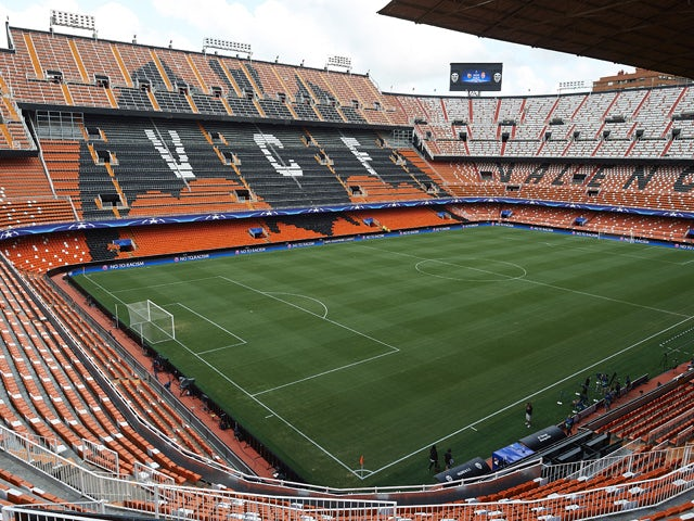 A general view of the Mestalla Stadium is seen prior to the UEFA Champions League Qualifying Round Play Off First Leg match between Valencia CF and AS Monaco at Mestalla Stadium on August 19, 2015