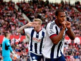 Salomon Rondon of West Bromwich Albion celebrates scoring his team's first goal during the Barclays Premier League match between Stoke City and West Bromwich Albion at Britannia Stadium on August 29, 2015