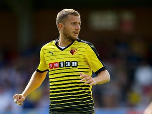 Almen Abdi of Watford during the Pre Season Friendly match between AFC Wimbledon and Watford at The Cherry Red Records Stadium on July 11, 2015