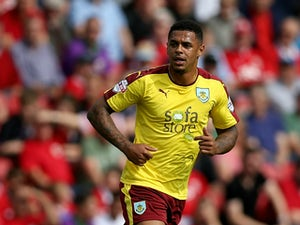 Andre Gray of Burnley during the Sky Bet Championship match between Bristol City and Burnley at Ashton Gate on August 29, 2015 in Bristol, England.
