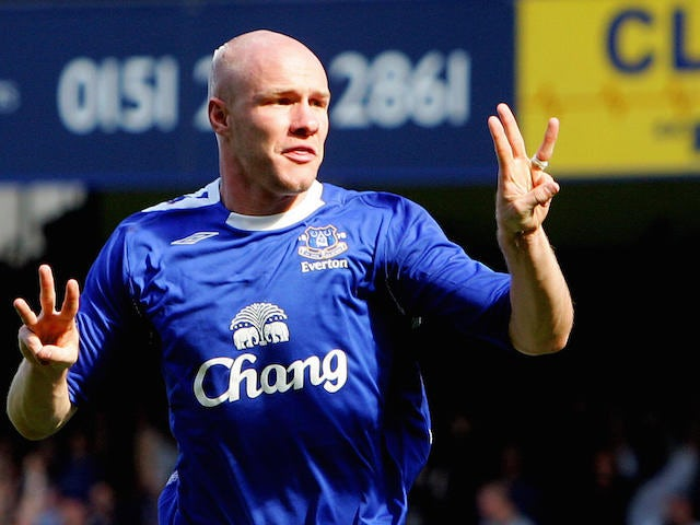 Everton's Andrew Johnson celebrates scoring the third goal against Liverpool during their English Premiership football match at Goodison Park, Liverpool, England, 09 September 2006. Andrew Johnson struck twice to send Liverpool crashing to their first def