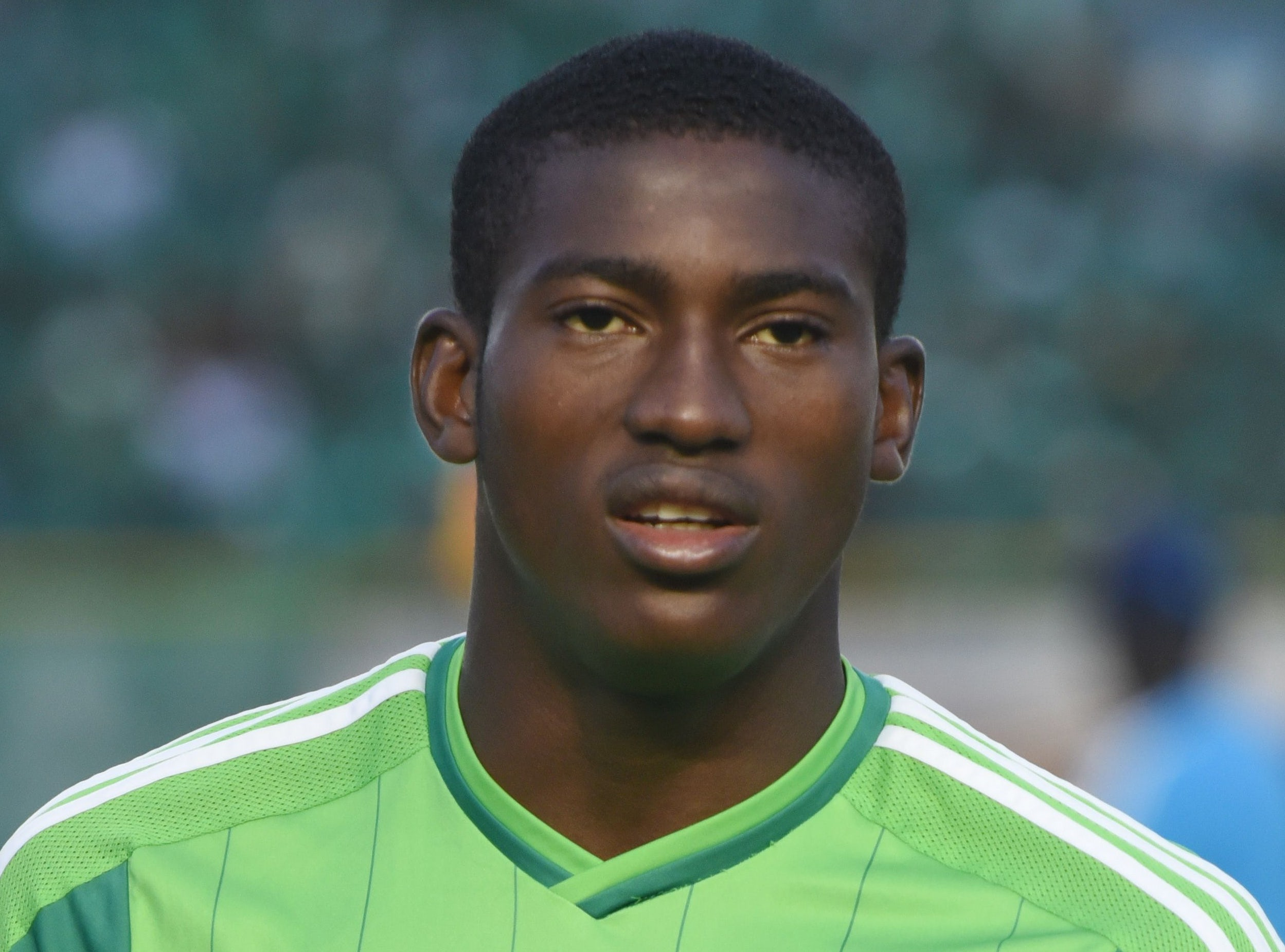 Nigerian player Awoniyi Taiwo Michael poses before the final football match of the 2015 African U-20 Championships Senegal against Nigeria, on March 22, 2015