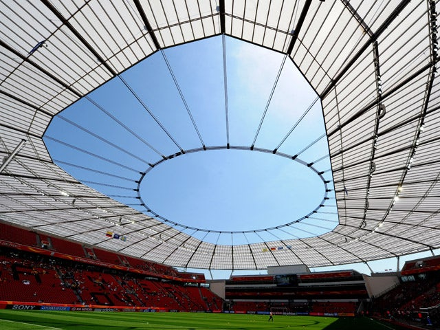 A general view inside the BayArena stadium in Leverkusen, western Germany, during the football match of the FIFA women's football World Cup Colombia vs Sweden (group C) on June 28, 2011