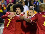 Belgium's Marouane Fellaini celebrates after scoring during the Euro 2016 qualifying match between Belgium and Bosnia and Herzegovina at the King Baudouin Stadium in Brussels, on September 3, 2015
