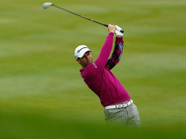 Bradley Dredge of Wales plays his second shot on the eighteenth hole on day two of the M2M Russian Open at Skolkovo Golf Club on September 4, 2015 in Moscow, Russia.