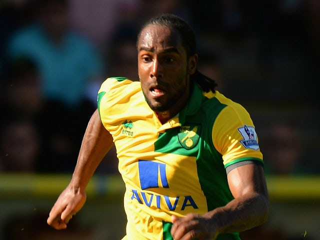 Cameron Jerome of Norwich City during the Barclays Premier League match between Norwich City and Stoke City at Carrow Road on August 22, 2015 in Norwich, United Kingdom.