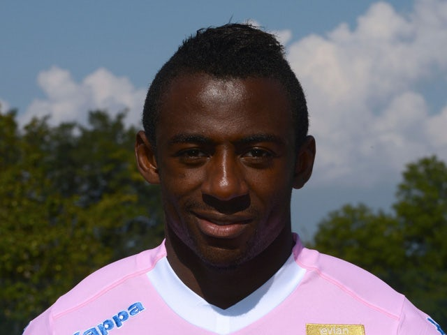 Evian Thonon Gaillard FC's French forward Clarck NSikulu poses for an official picture of the French L1 football team on September 16, 2014