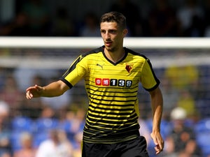 Craig Cathcart of Watford during the Pre Season Friendly match between AFC Wimbledon and Watford at The Cherry Red Records Stadium on July 11, 2015