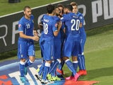 Daniele De Rossi of Italy celebrates after scoring the opening goal during the UEFA EURO 2016 Qualifier match between Italy and Bulgaria on September 6, 2015 in Palermo, Italy.