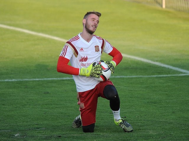 MANCHESTER UNITED keeper David de Gea in action during a Spain training session on September 2, 2015