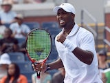 Donald Young of the US reacts to winning a point against Gilles Simon of France during their Men's Singles round 1 match at the US Open at USTA Billie Jean King National Tennis Center in New York on September 1, 2015
