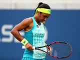 Heather Watson of Great Britain in action against Lauren Davis of the United States during their women's first round match on Day One of the 2015 US Open at the USTA Billie Jean King National Tennis Center on August 31, 2015