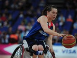 Helen Freeman of Great Britain in action during the Women's Classification Crossover Wheelchar Basketball match between Great Britain and China on day 8 of the London 2012 Paralympic Games at Basketball Arena on September 6, 2012
