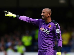 Heurelho Gomes of Watford gestures during the Barclays Premier League match between Everton and Watford at Goodison Park on August 8, 2015