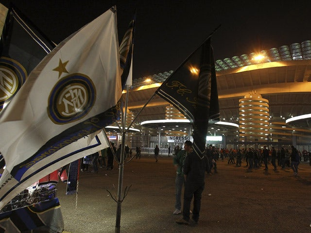 A general view of the stadium ahead before the UEFA Europa League Round of 16 match between FC Internazionale Milano and VfL Wolfsburg at Stadio Giuseppe Meazza on March 19, 2015
